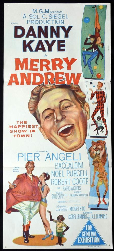 MERRY ANDREW Original Daybill Movie Poster Danny Kaye Pier Angeli