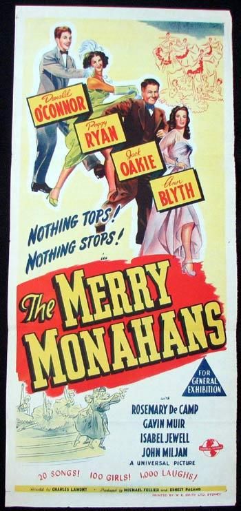 THE MERRY MONAHANS Movie poster Donald O'Connor Peggy Ryan Jack Oakie