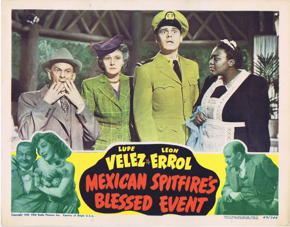 MEXICAN SPITFIRE'S BLESSED EVENT Lobby Card Lupe Vélez Leon Errol Walter Reed RKO