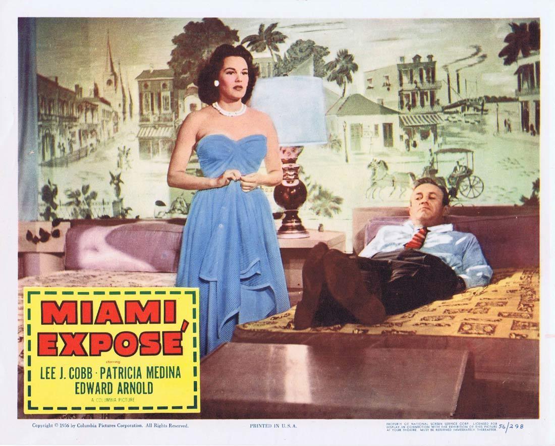 MIAMI EXPOSE Vintage Lobby Card 2 Lee J. Cobb Patricia Medina Edward Arnold