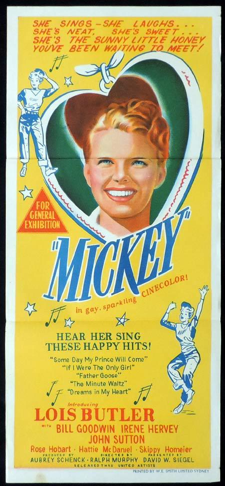MICKEY Original Daybill Movie Poster 1948 Lois Butler