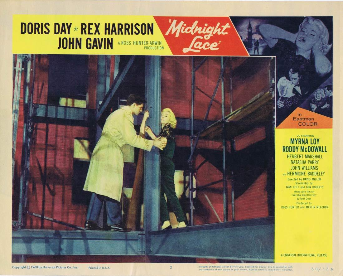 MIDNIGHT LACE Original Lobby Card 2 Doris Day Rex Harrison