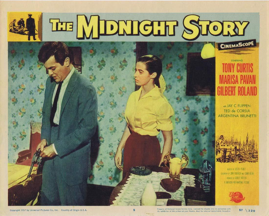 THE MIDNIGHT STORY Original Lobby Card 5 Tony Curtis Marisa Pavan
