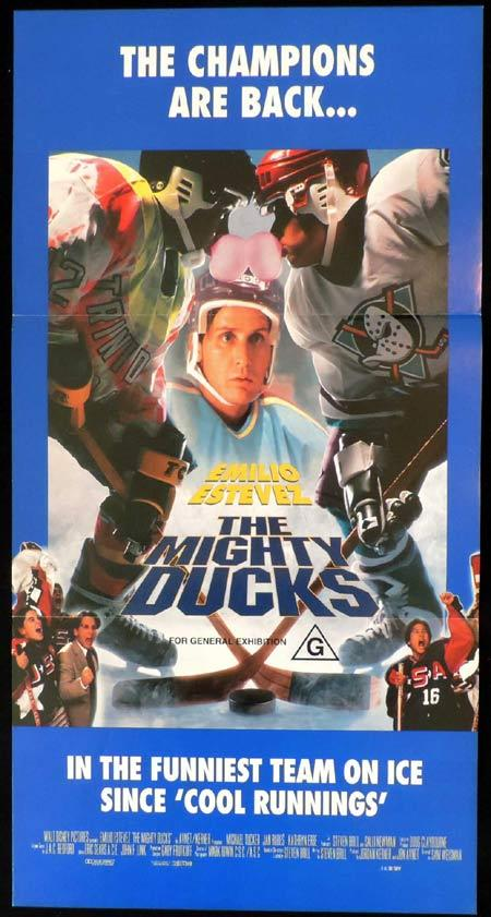 THE MIGHTY DUCKS Original Daybill Movie Poster Emilio Estevez