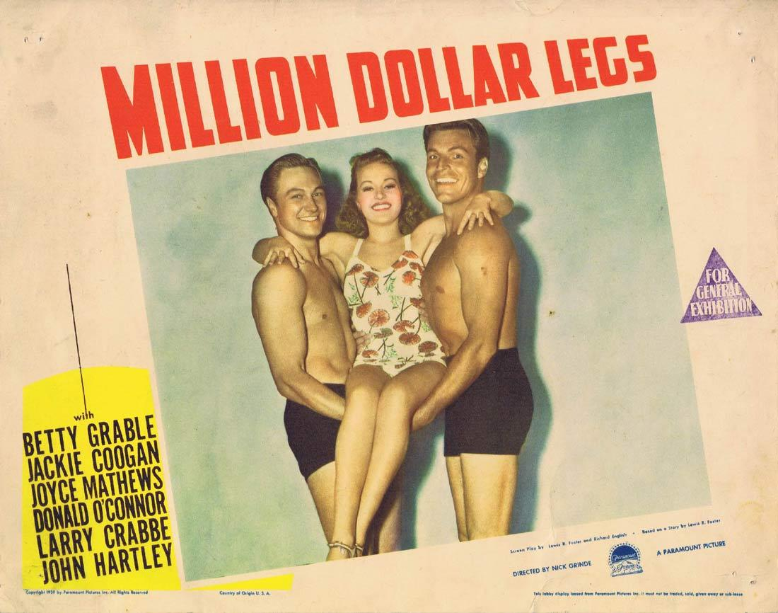 MILLION DOLLAR LEGS Vintage Lobby Card Betty Grable Jackie Coogan