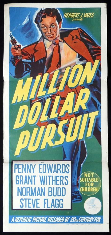 MILLION DOLLAR PURSUIT Original Daybill Movie poster Penny Edwards Grant Withers