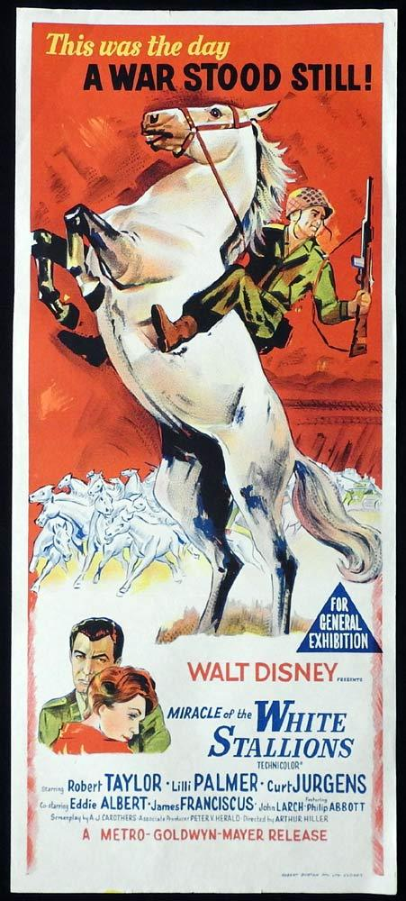 MIRACLE OF THE WHITE STALLIONS Original Daybill Movie Poster Robert Taylor Disney