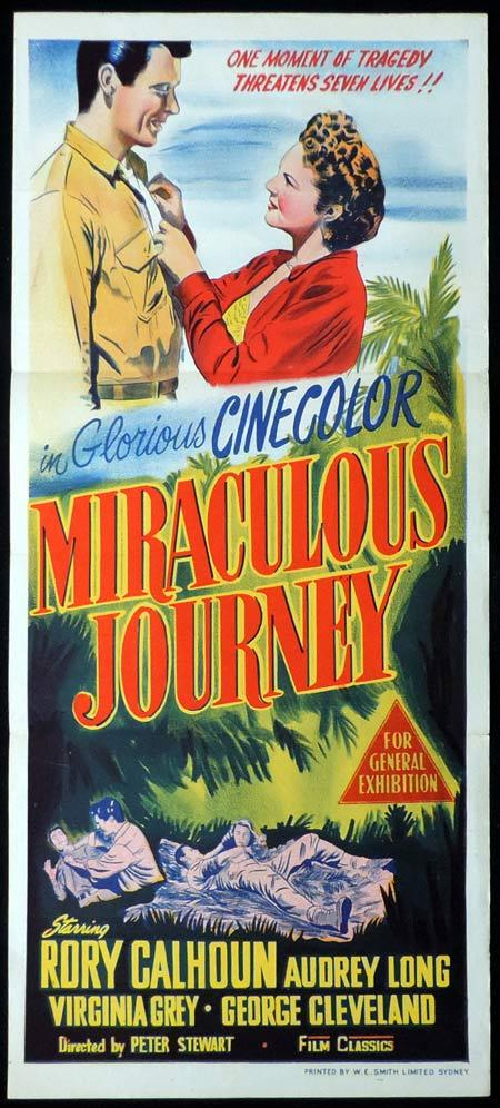 MIRACULOUS JOURNEY Original Daybill Movie Poster Rory Calhoun Plane Crash