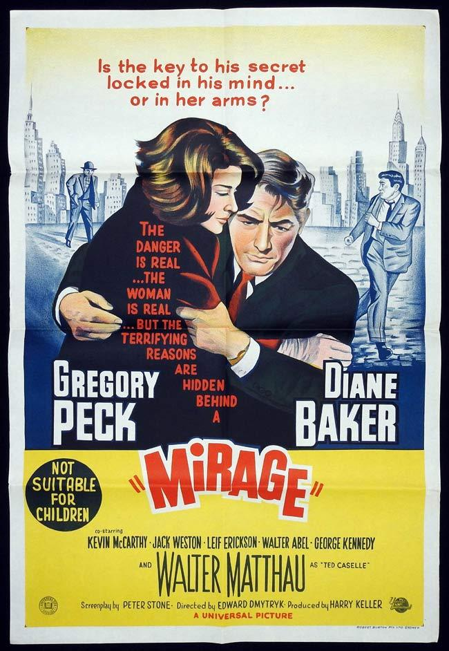 MIRAGE Original One sheet Movie Poster Gregory Peck Diane Baker