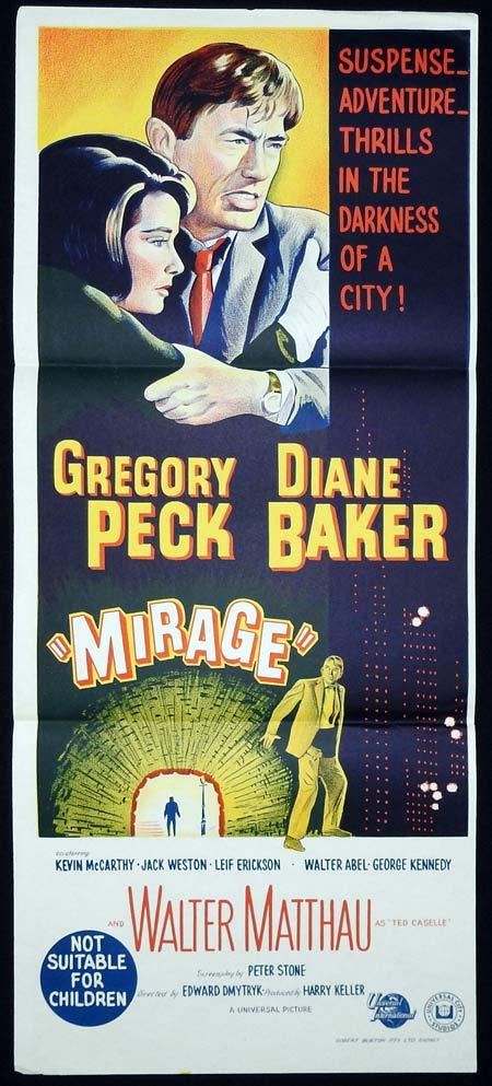 MIRAGE Original Daybill Movie Poster Gregory Peck Diane Baker Kevin McCarthy