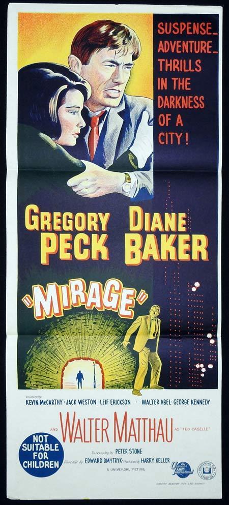 MIRAGE Original Daybill Movie Poster Gregory Peck Diane Baker Kevin McCarthy