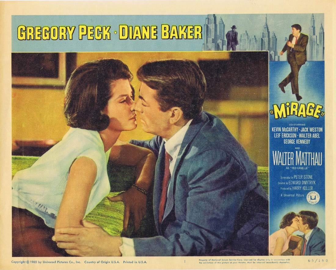 MIRAGE Lobby Card 1 Gregory Peck Diane Baker Walter Matthau