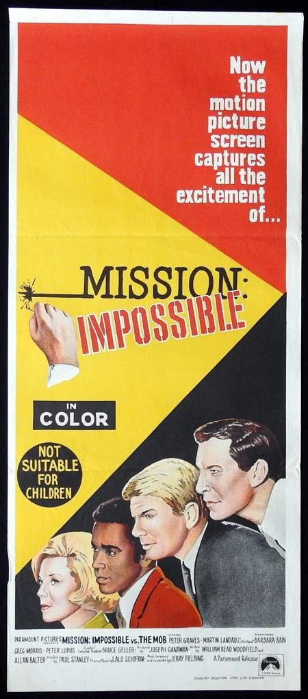 MISSION IMPOSSIBLE Original Daybill Movie Poster Peter Graves Martin Landau Barbara Bain