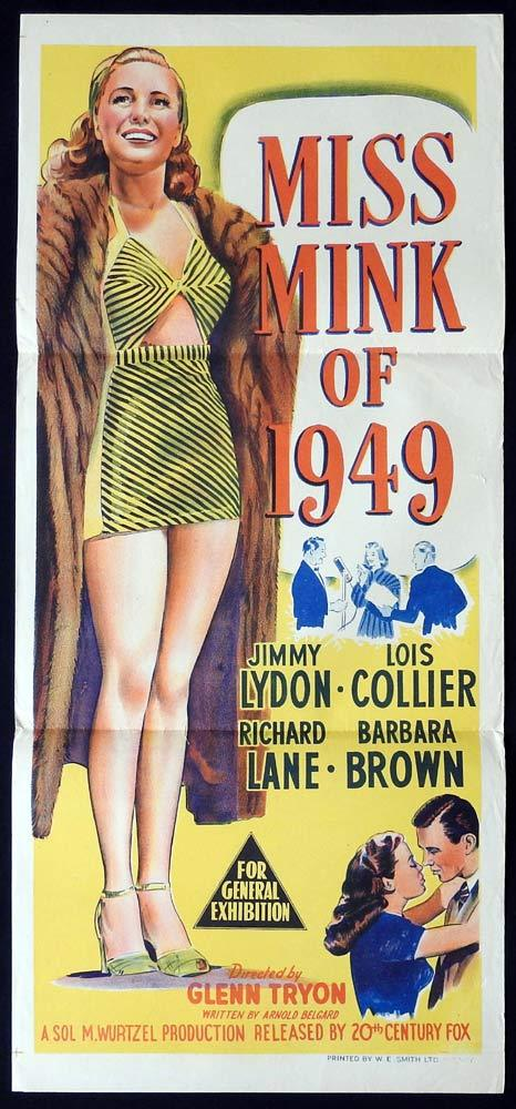 MISS MINK OF 1949 Daybill Movie Poster Jimmy Lydon