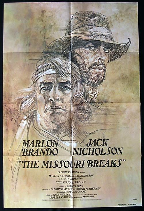THE MISSOURI BREAKS Original One sheet Movie poster Jack Nicholson Marlon Brando