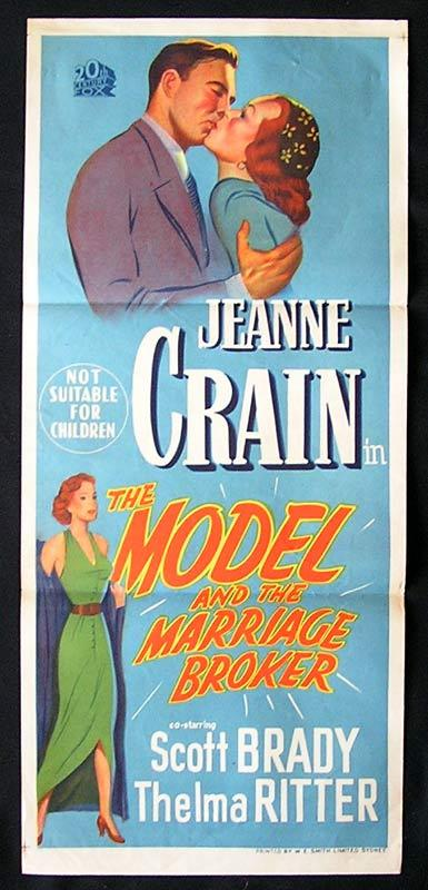 THE MODEL AND THE MARRIAGE BROKER Daybill Movie Poster Jeanne Crain