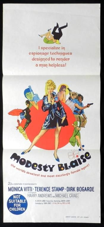 MODESTY BLAISE Monica Vitti RARE Daybill Movie poster