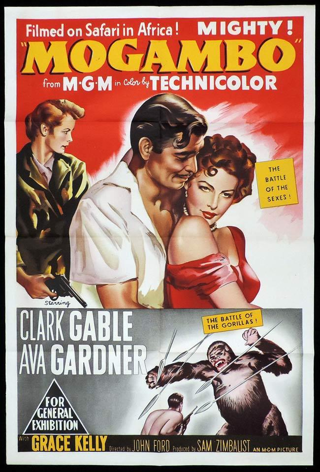 MOGAMBO Original One sheet Movie Poster CLARK GABLE Ava Gardner