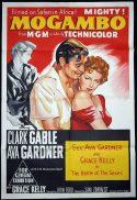 MOGAMBO Original 1962r One sheet Movie Poster CLARK GABLE Ava Gardner