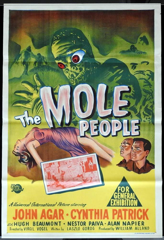 THE MOLE PEOPLE Original One sheet Movie Poster Sci Fi classic