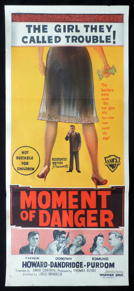 MOMENT OF DANGER aka MALAGA Film Noir VINTAGE Daybill Movie poster