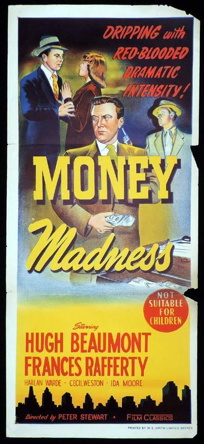 MONEY MADNESS Original Daybill Movie Hugh Beaumont Film Noir