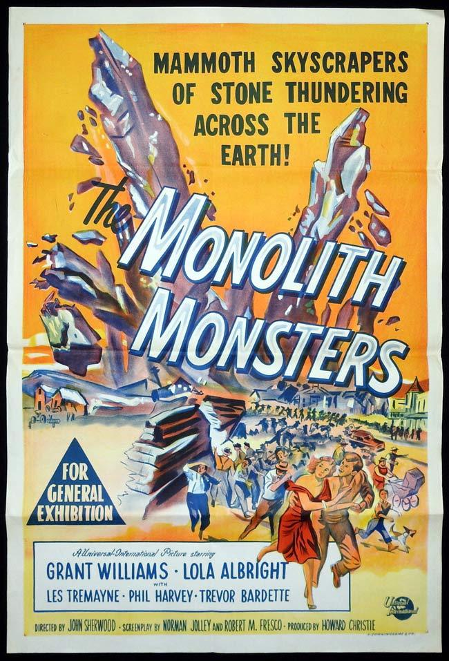 THE MONOLITH MONSTERS Original One sheet Movie Poster Sci Fi Grant Williams 1957