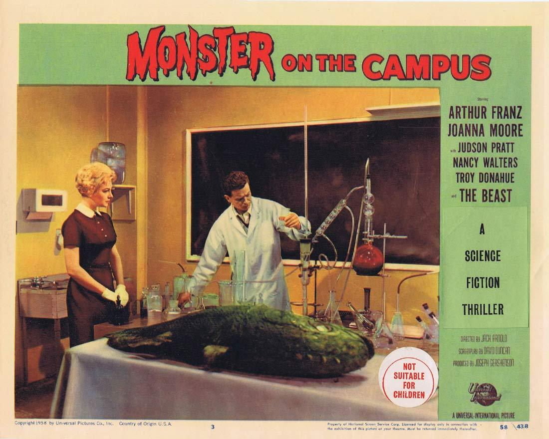 MONSTER ON THE CAMPUS Original Lobby Card 3 Arthur Franz Joanna Moore Troy Donahue