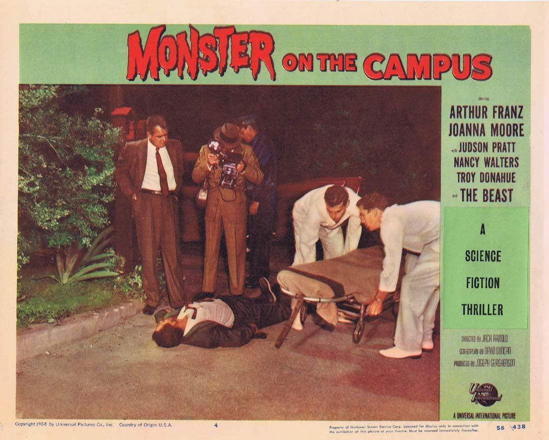 MONSTER ON THE CAMPUS Original Lobby Card 4 Arthur Franz Joanna Moore Troy Donahue