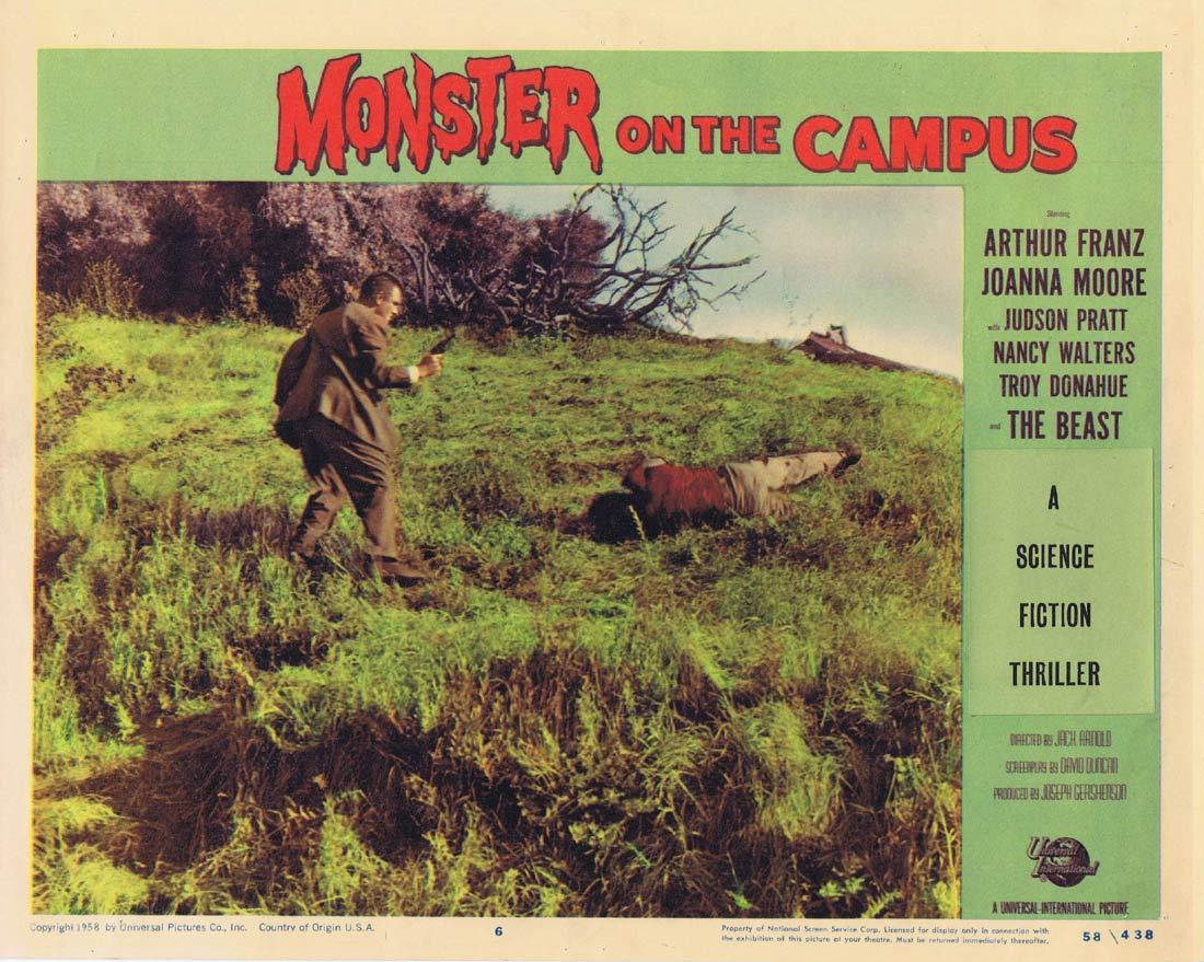 MONSTER ON THE CAMPUS Original Lobby Card 6 Arthur Franz Joanna Moore Troy Donahue