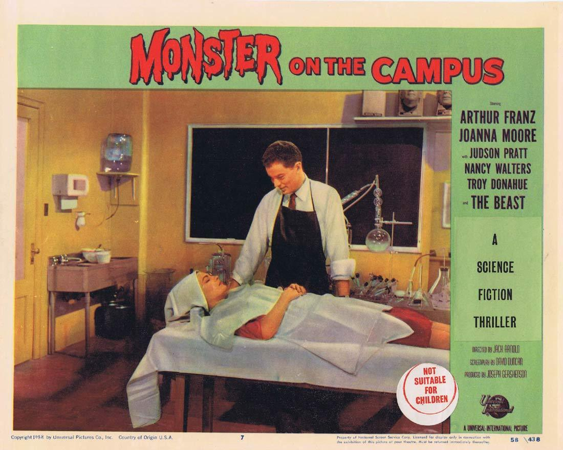 MONSTER ON THE CAMPUS Original Lobby Card 7 Arthur Franz Joanna Moore Troy Donahue