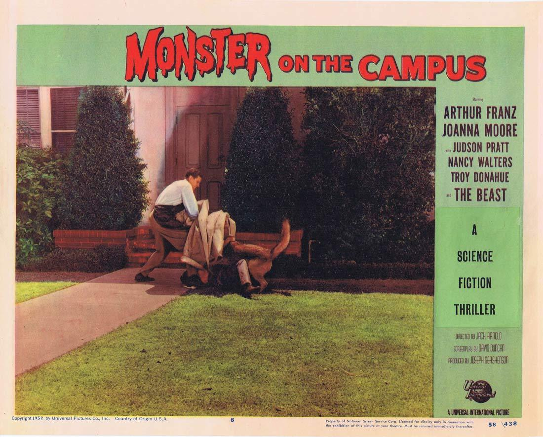 MONSTER ON THE CAMPUS Original Lobby Card 8 Arthur Franz Joanna Moore Troy Donahue