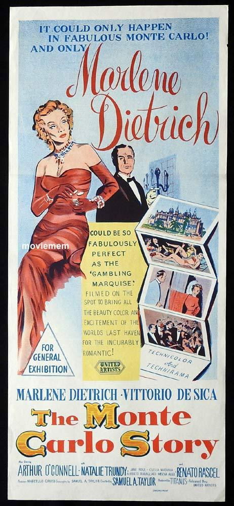 THE MONTE CARLO STORY Original Daybill Movie Poster Marlene Dietrich Gambling