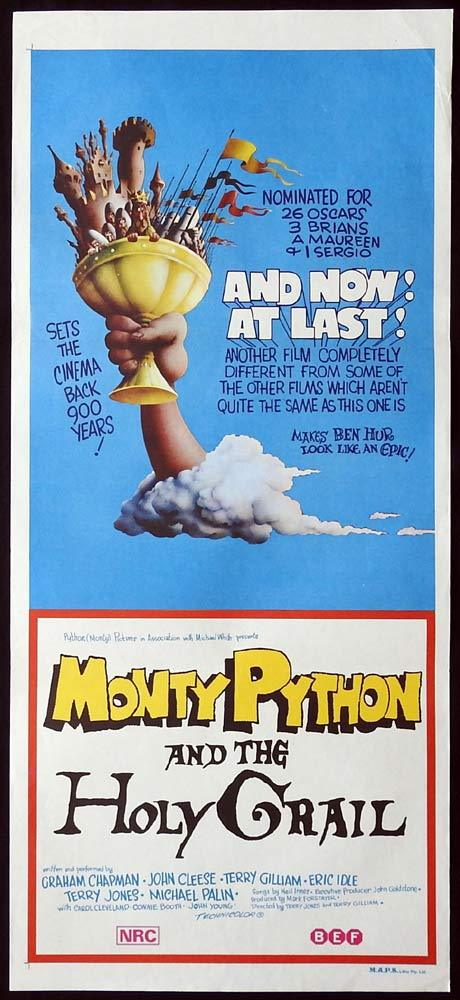 MONTY PYTHON AND THE HOLY GRAIL Original daybill Movie Poster Graham Chapman John Cleese