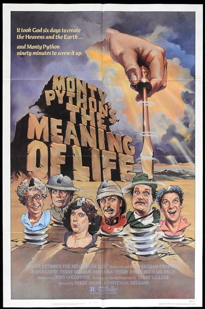 THE MEANING OF LIFE Original One sheet Movie poster Monty Python John Cleese