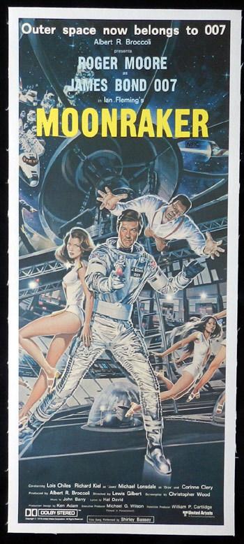 MOONRAKER '79 James Bond LINEN BACKED daybill Movie poster