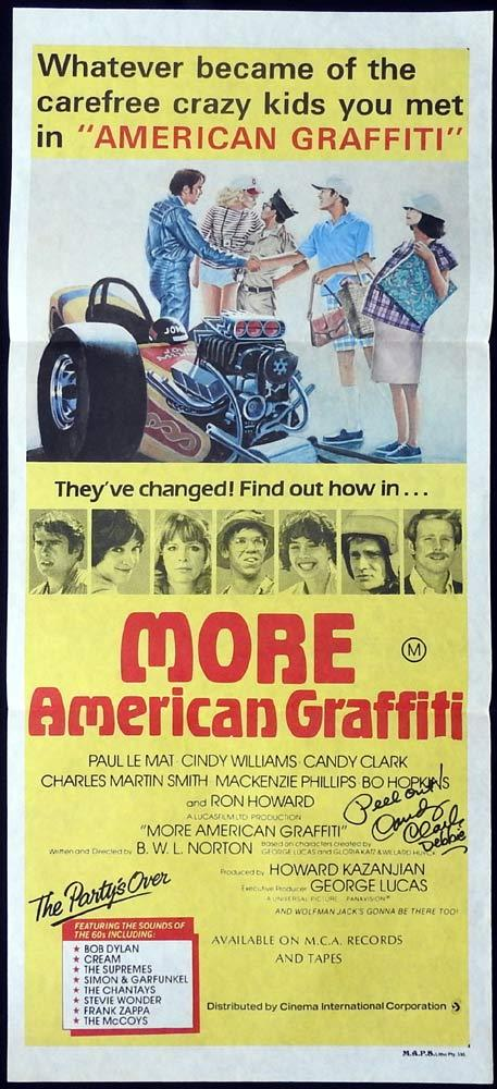 MORE AMERICAN GRAFFITI Original Daybill Movie poster AUTOGRAPHED by CANDY CLARK
