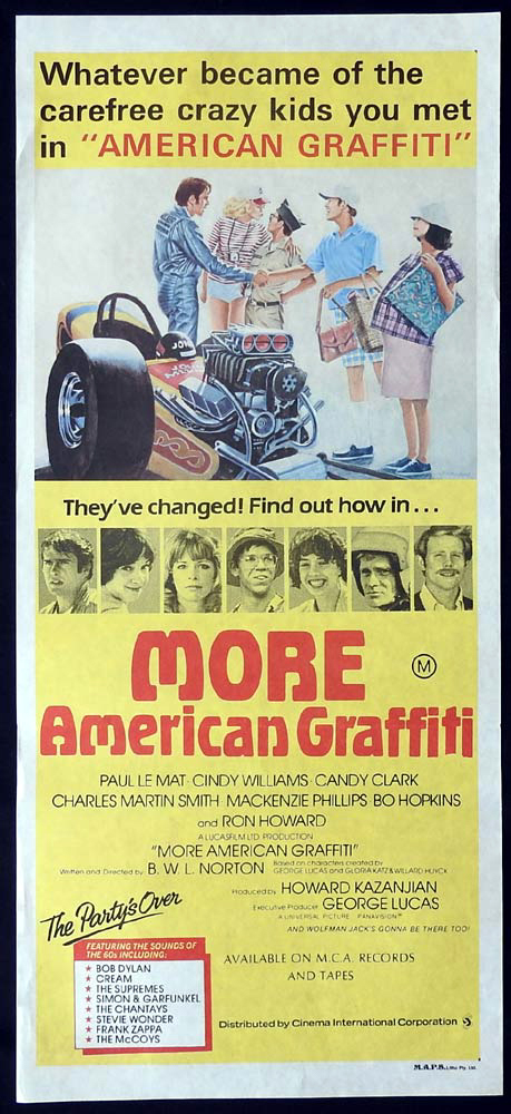MORE AMERICAN GRAFFITI Original Daybill Movie Poster Ron Howard Candy Clark