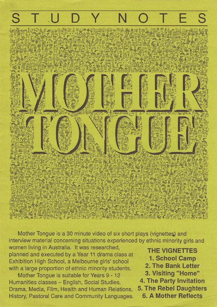 MOTHER TONGUE Original Australian Movie Study Guide Louise Hubbard