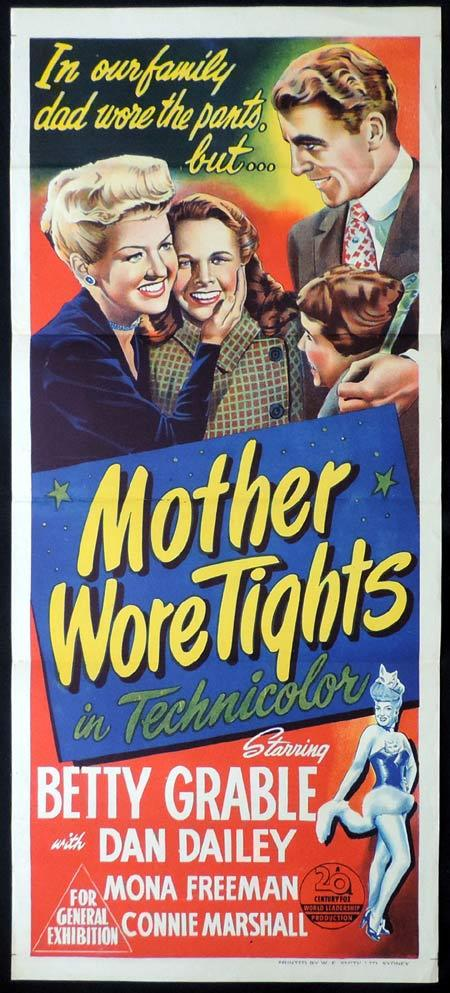 MOTHER WORE TIGHTS Original Daybill Movie Poster Betty Grable Dan Dailey