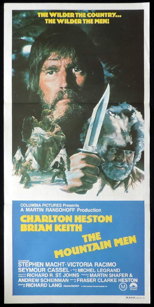 THE MOUNTAIN MEN Original Daybill Movie Poster Charlton Heston Brian Keith Trapper