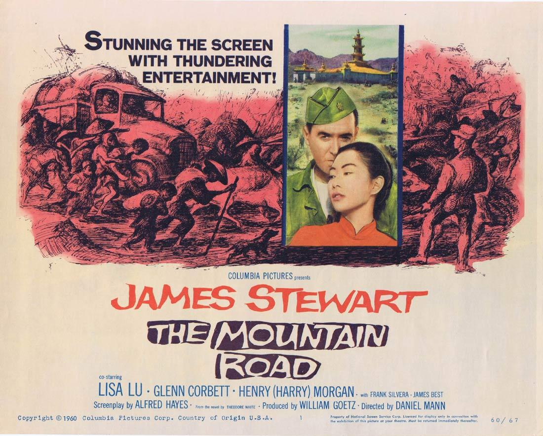 THE MOUNTAIN ROAD Title Lobby Card James Stewart Lisa Lu Glenn Corbett
