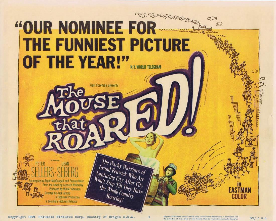 THE MOUSE THAT ROARED Title Lobby card 1959 Peter Sellers Seberg