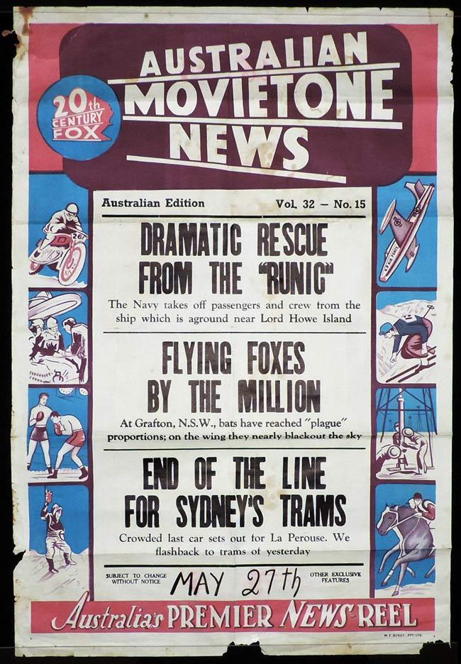 MOVIETONE NEWS One Sheet Movie Poster Vol 32 No 15 LAST SYDNEY TRAM c.1961