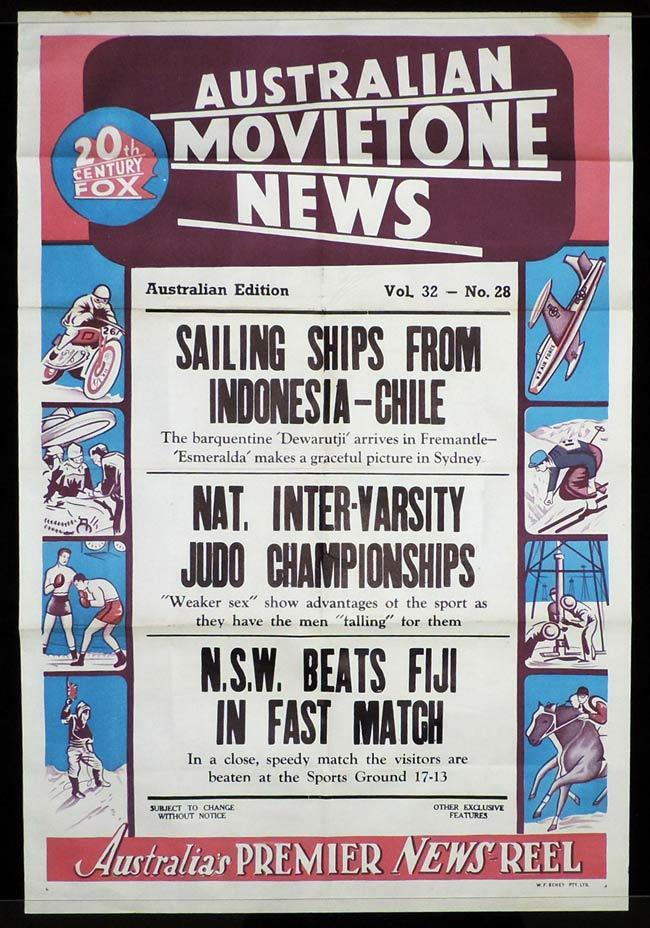 MOVIETONE NEWS One Sheet Movie Poster Vol 32 No 28 NSW versus Fiji Rugby c.1961
