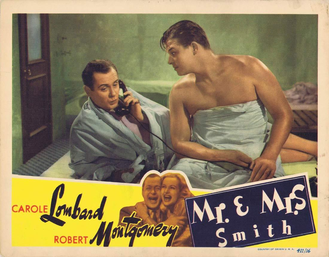 MR AND MRS SMITH  Lobby card 1941 Alfred Hitchcock Lombard
