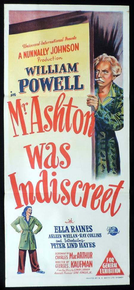 MR ASHTON WAS INDISCREET Original Daybill Movie Poster William Powell Ella Raines