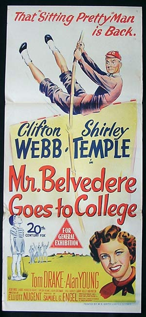 MR BELVEDERE GOES TO COLLEGE Daybill Movie poster 1951 Shirley Temple
