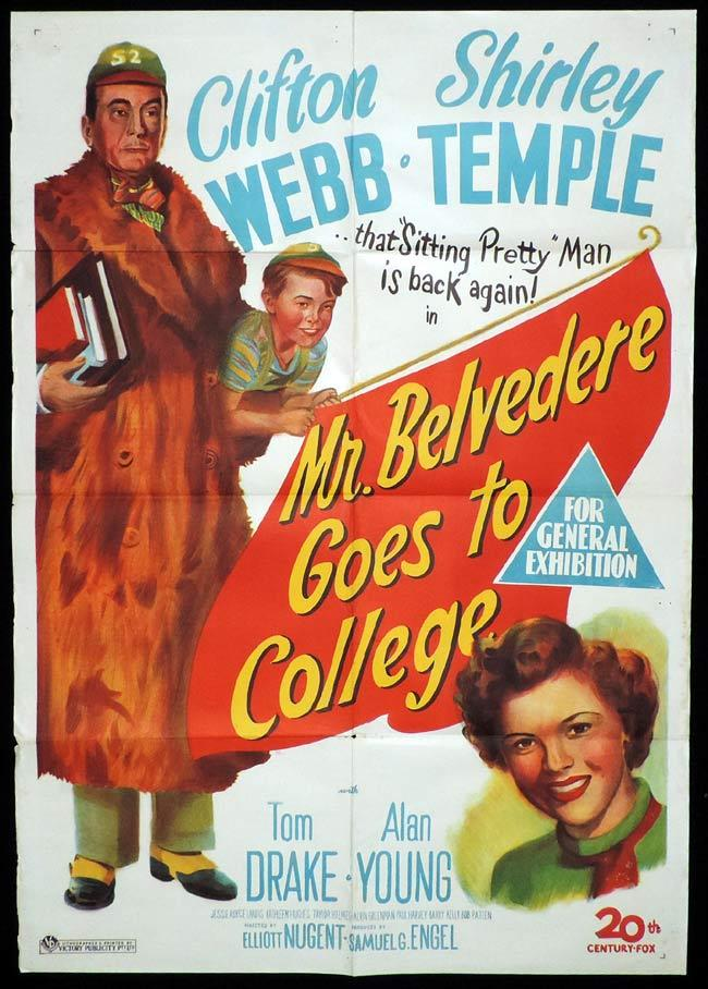 MR BELVEDERE GOES TO COLLEGE Original One sheet Movie Poster SHIRLEY TEMPLE Clifton Webb