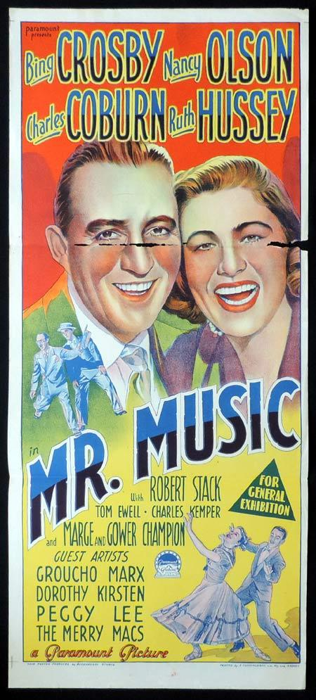 MR MUSIC Original Daybill Movie Poster BING CROSBY Richardson Studio
